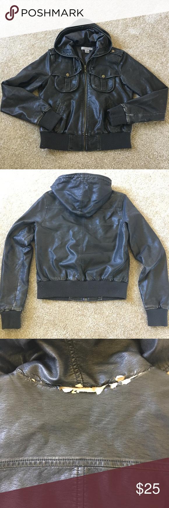 Leather jacket damage - Faux Leather Jacket Faux Leather Jacket With Hood There Is Slight Damage Under The Hood