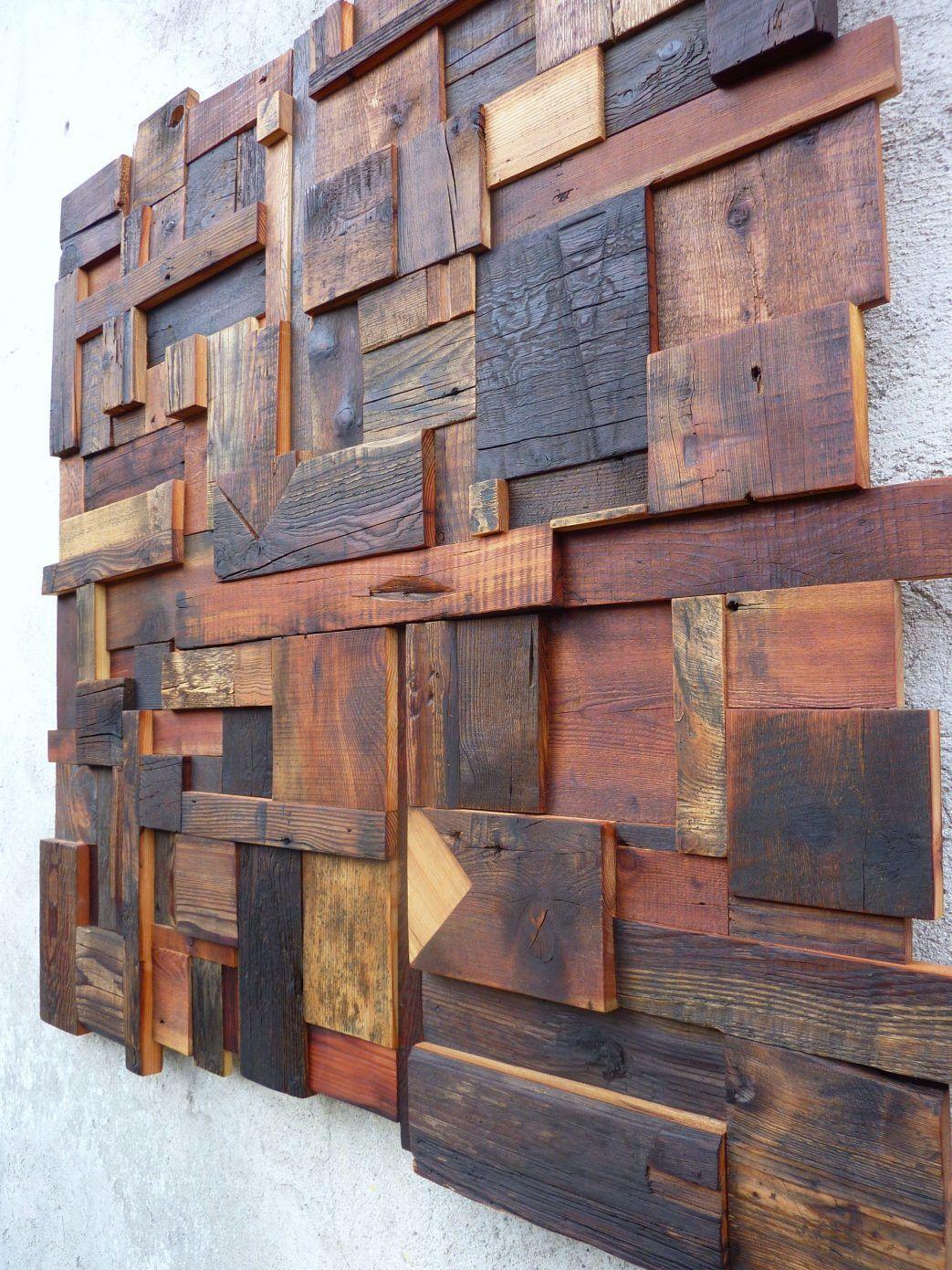 decoration murale composition abstraite en vieux bois