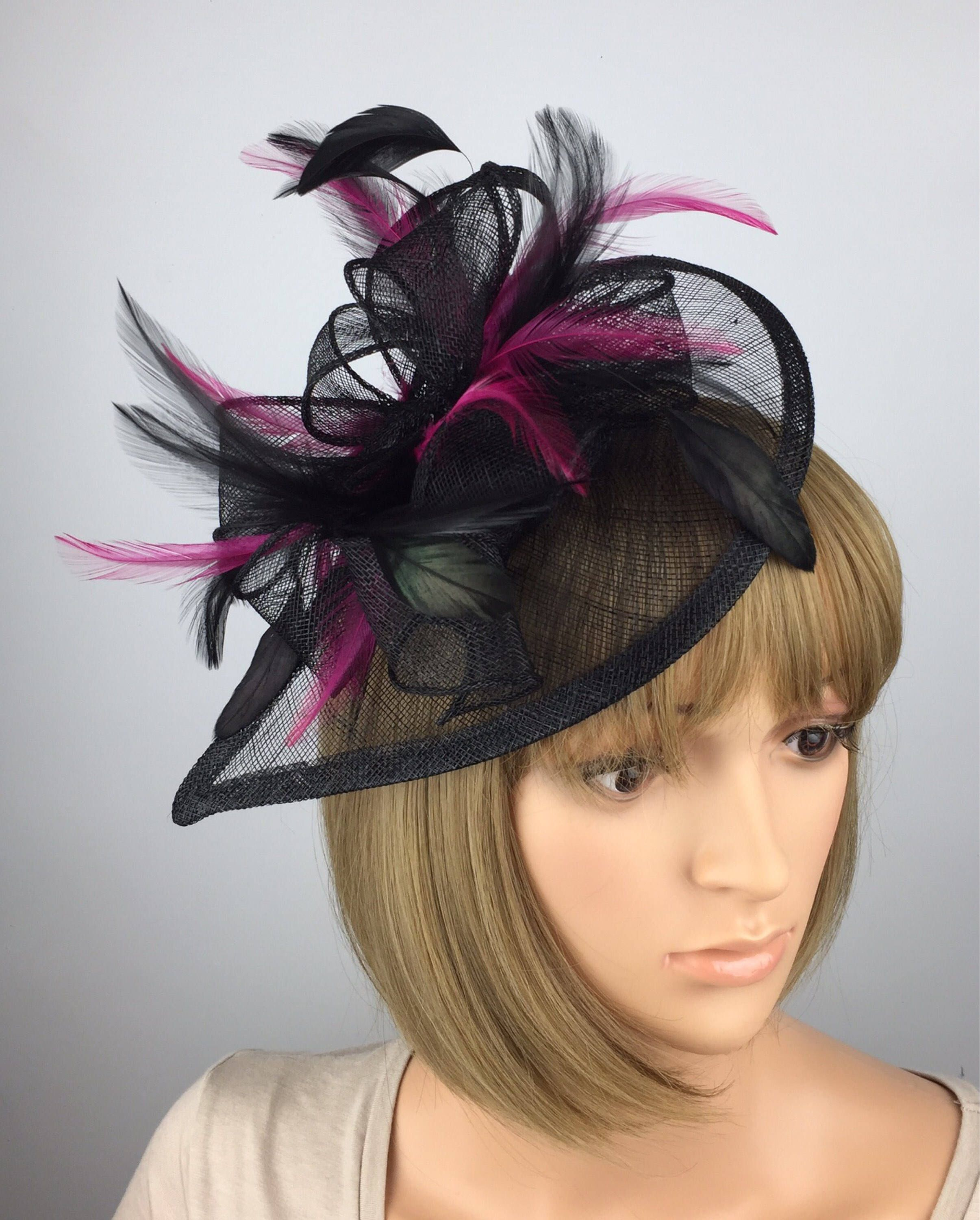 41be34e4 A personal favourite from my Etsy shop https://www.etsy.com /uk/listing/555672593/black-and-pink-fascinator-sinamay