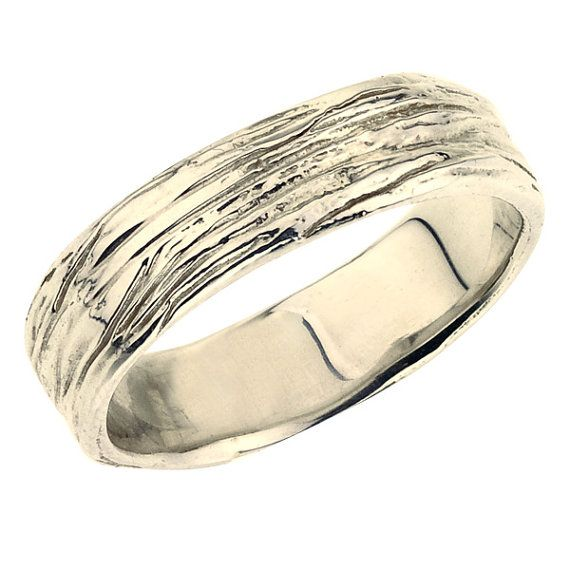 Beautiful Wide Wedding Band for Men Tree Branch Ring K Eco by bmjnyc