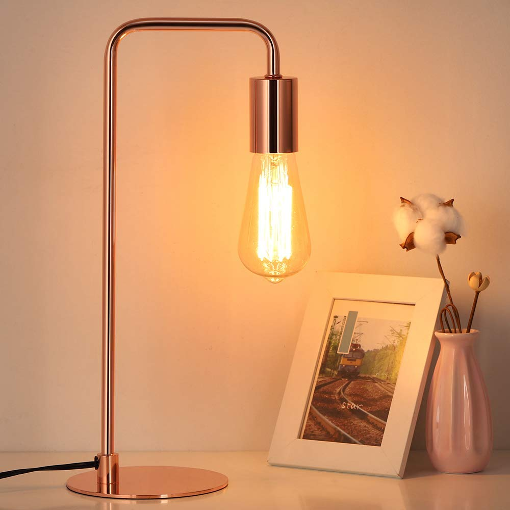Edison Table Lamp Industrial Nightstand Lamps Small Rose Gold