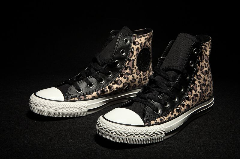 82f827d3d3e  converse Converse Leopard Brown Black Studded High Tops Chuck Taylor All  Star Mens Shoes