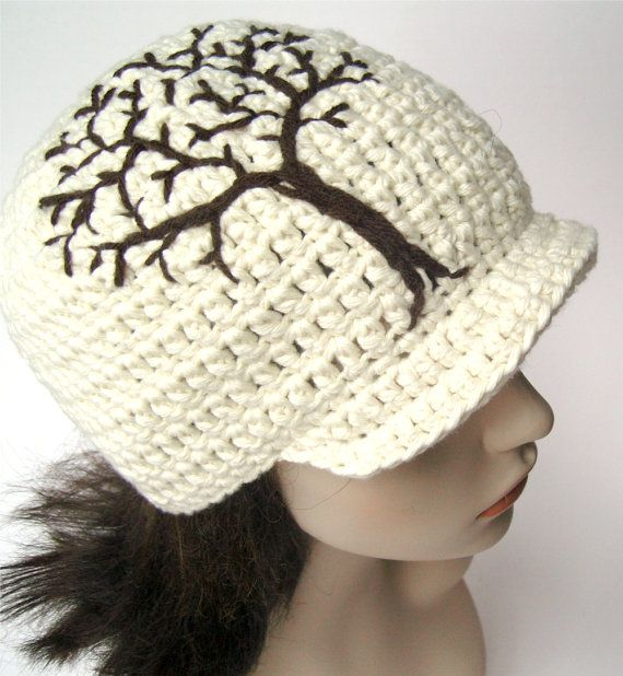 Cotton Brimmed Beanie with Tree Design - Cream and Dark Brown - Made to Order