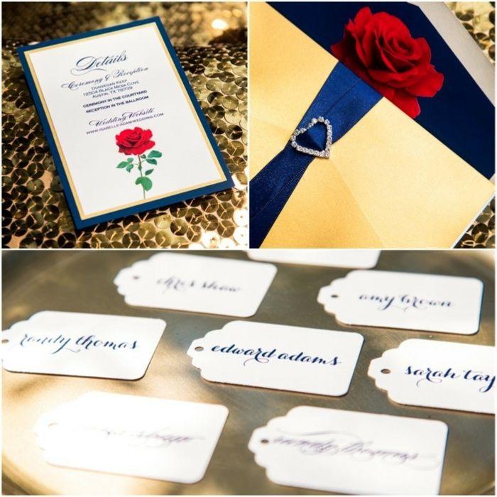 invitations to wedding%0A Amour mariage faire part mariage disney id  e invitation rose rouge belle et  la bete