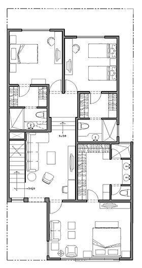 Plano casa monterrey planta alta planos de casas for Viviendas de dos plantas