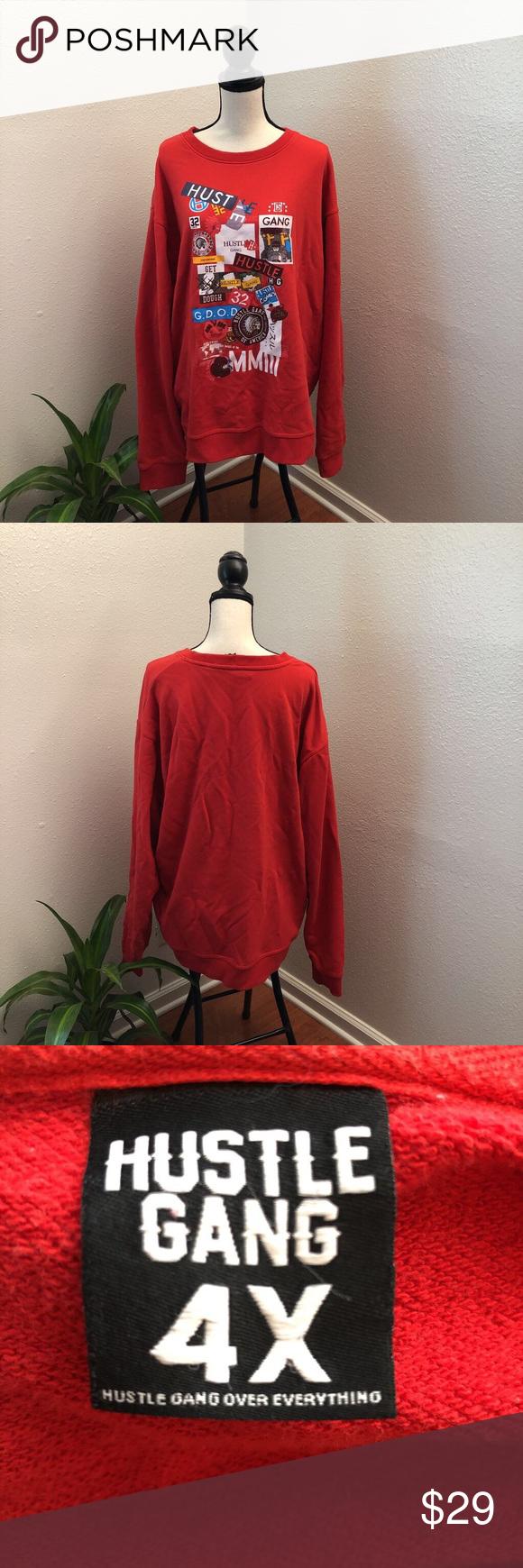 Hustle Gang Red Sweatshirt Red Sweatshirts Sweatshirts Cotton Pullover [ 1740 x 580 Pixel ]