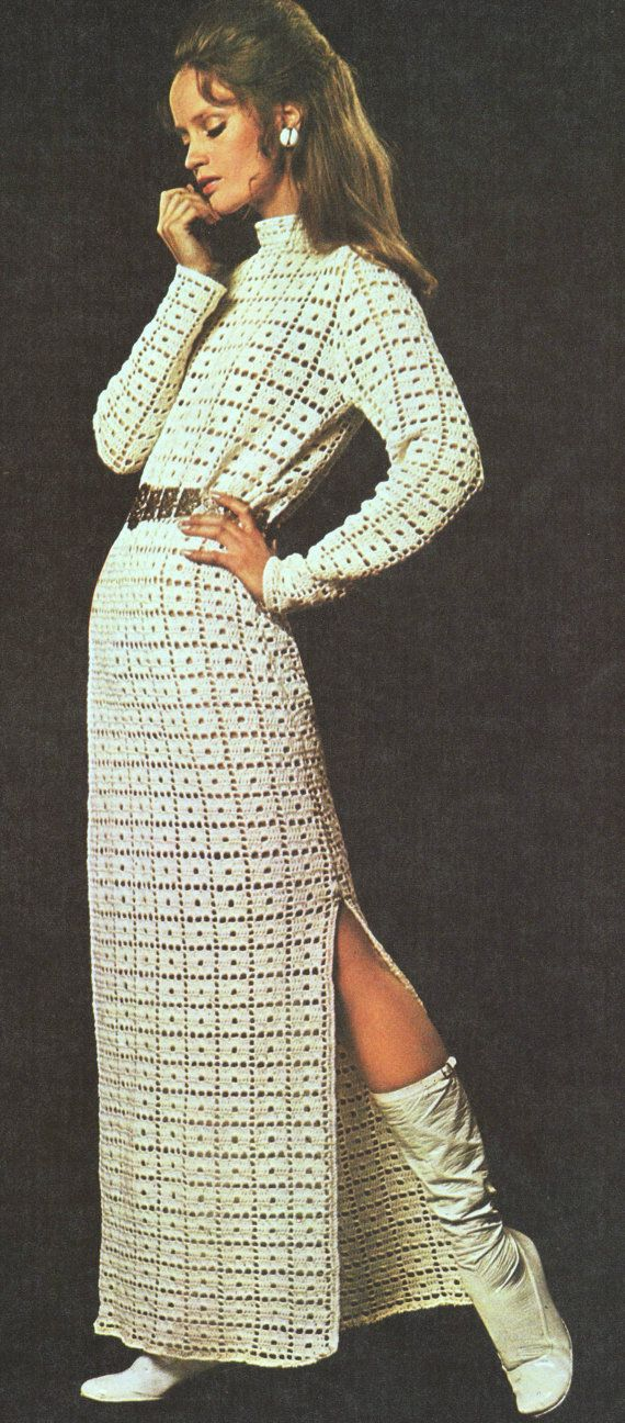 INSTANT DOWNLOAD PDF Vintage Crochet Pattern Side Split Maxi Tunic Dress 1970s Retro