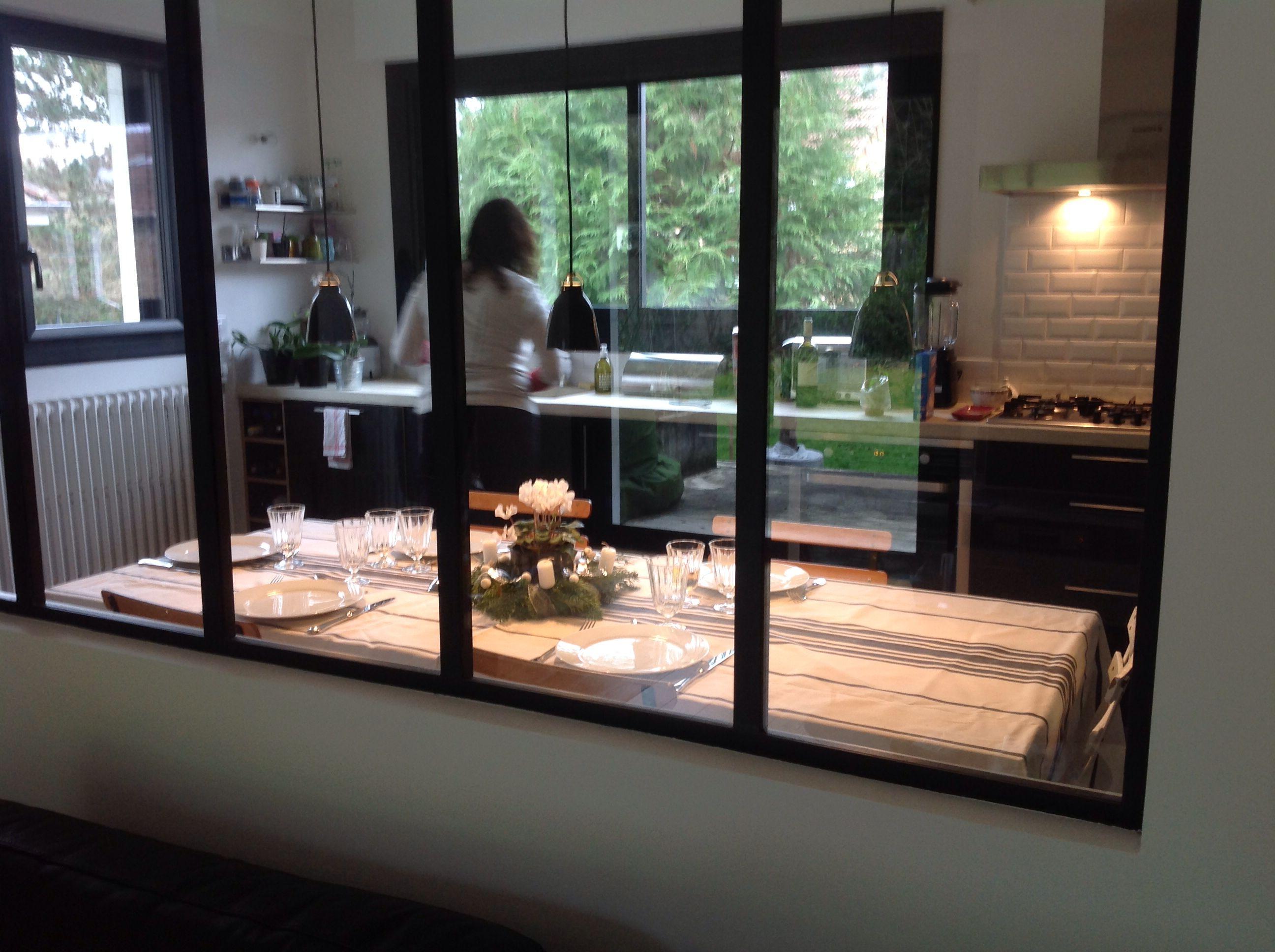 Cuisine avec verri re cuisine type industriel avec - Carreau porte vitree ...