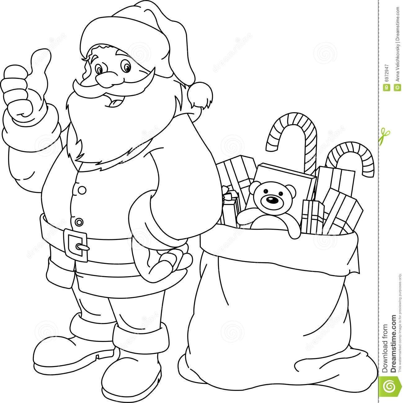 Santas Sack Coloring Page Santa Coloring Pages Christmas Images