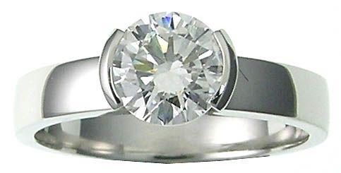 PLATINUM MOVADO STYLE HALF BEZEL SET ROUND BRILLIANT DIAMOND