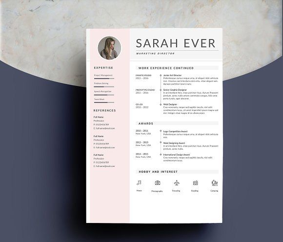 Resume Template 4 pages iLook Pinterest Template and Resume