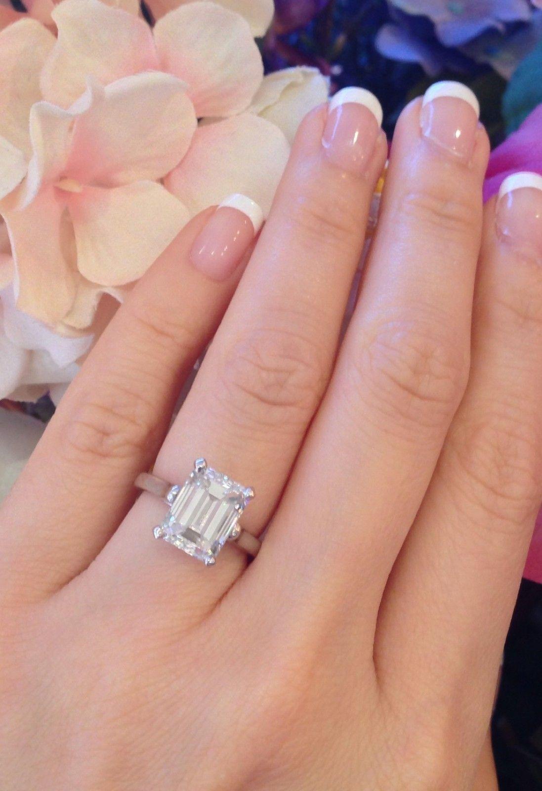 · tiffany & co 3.86 ct gia vs2-g emerald cut platinum diamond
