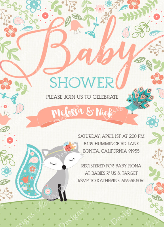 Baby Fox And Peacock Baby Shower Invitation Fox By Montrosedesigns