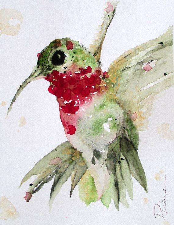 Watercolor Hummingbird Original Art Print by RedbirdCottageArt, $15.00