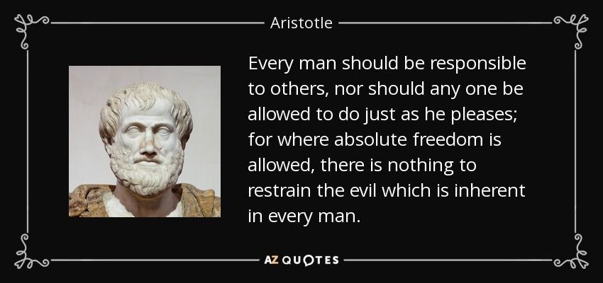 Aristotle Quotes Magnificent Aristotle Quote Every Man Should Be Responsible To Others Nor
