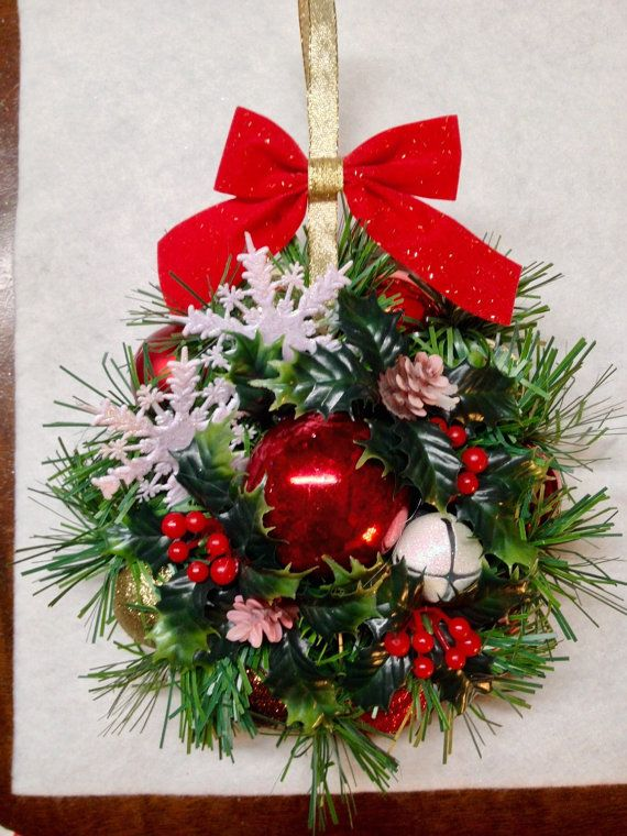 Handmade Mini Christmas Wreath Gift Ornament by WreathsAmongVines - christmas wreath decorations
