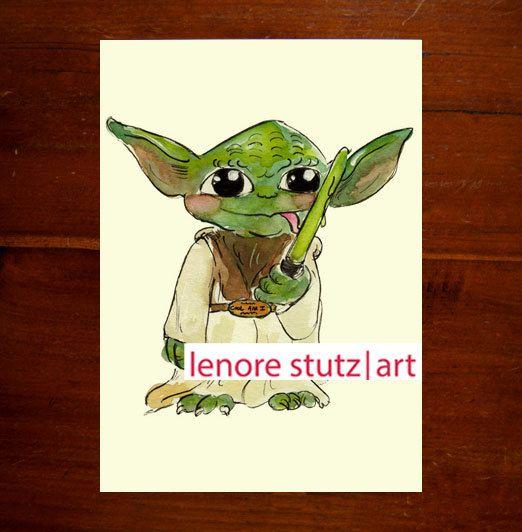 Star Wars Baby Yoda Original Watercolor 5x7 Art Print Limited Edition On Etsy 12 00 Star Wars Nursery Art Star Wars Nursery Star Wars Baby