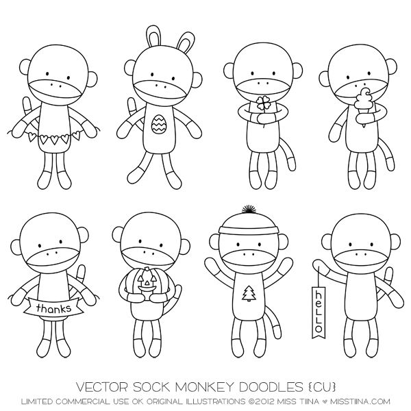 Sock Monkey Coloring Pages Printable Crochet Sock Monkey Bag