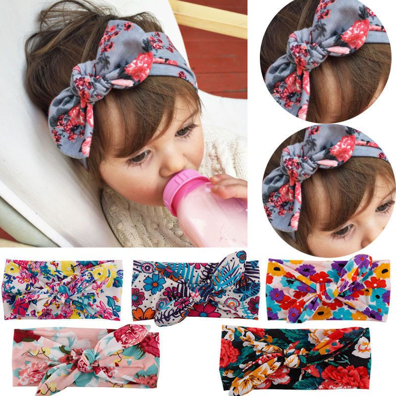 Baby Toddler Girls Kids Lace Flower Bow Knot Turban Headband Hair Band Headwrap