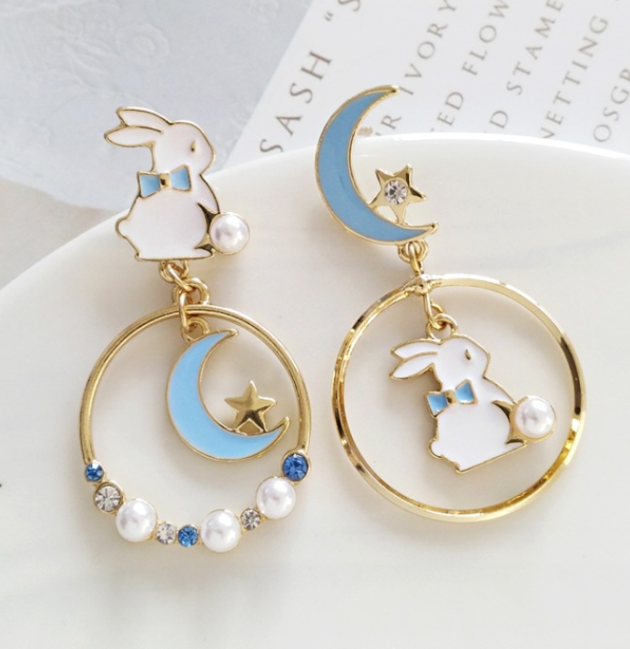 Rabbit And Moon Earrings
