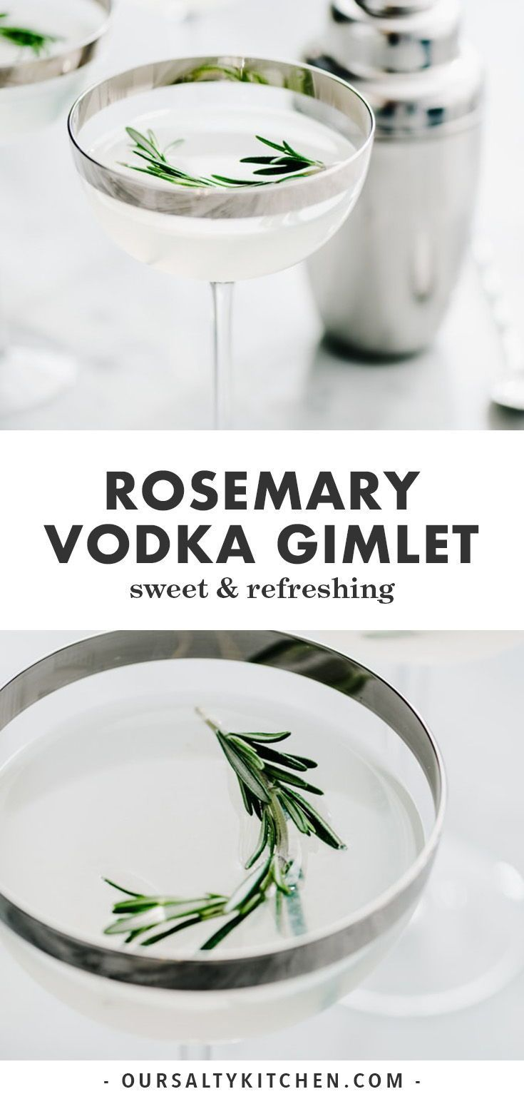 Vodka Gimlet with Rosemary Infused Simple Syrup #simplecocktail