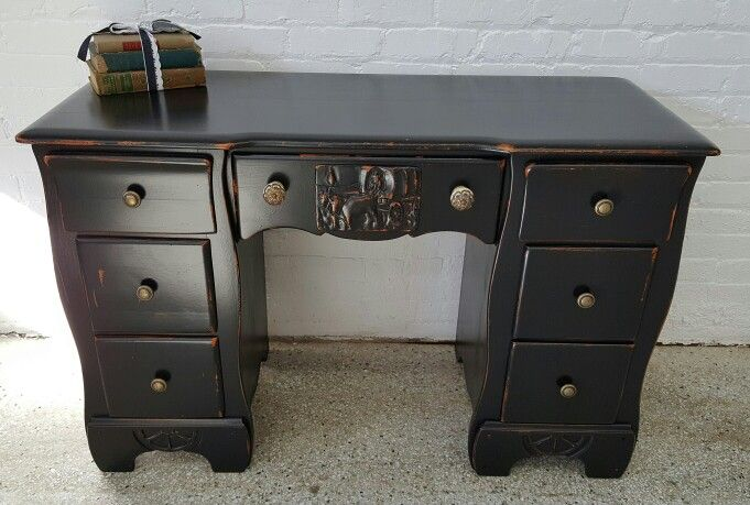 1930 s cowboy wheel desk vanity distressed pottery barn black for rh pinterest com