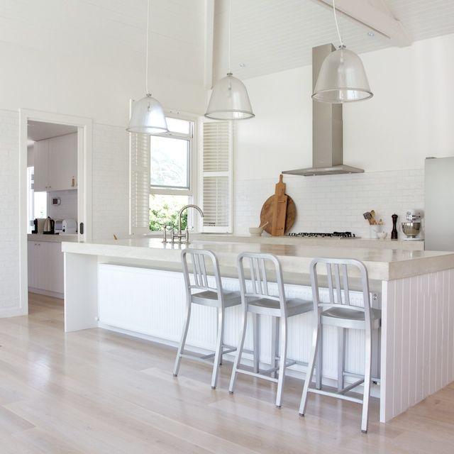 Kitchen Bench Tiles: Raw Concrete Benches, Subway Tile Splashback And Limed Washed Oak Floorboards. VJ Panelling.