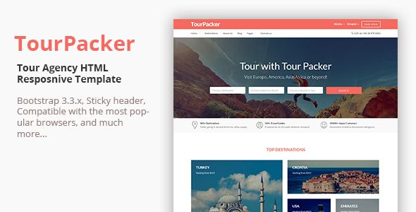 Free Tour Packer Agency Html Template Booking Holiday Hotel Package Tourism Tourist Travel Trip Vocation