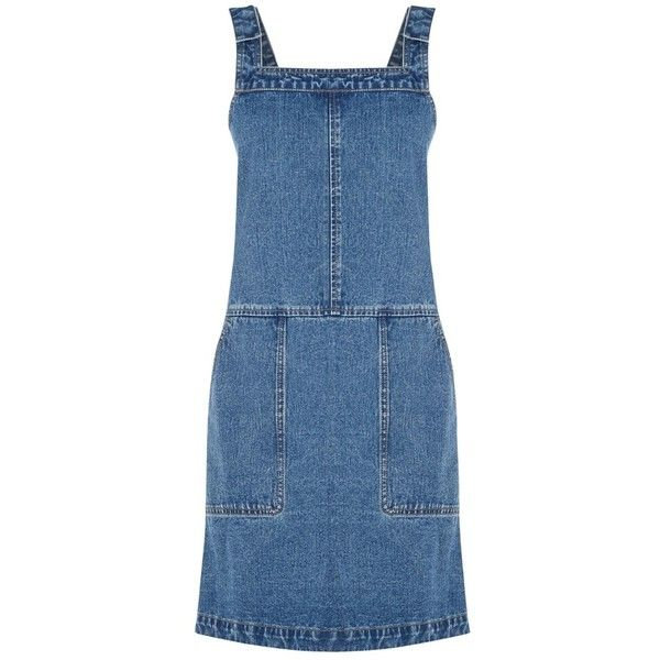 Oasis Darcy Denim Dungaree Dress, Blue (£45) ❤ liked on Polyvore featuring dresses, blue mini dress, sleeveless shift dress, blue sleeveless dress, maxi dress and shift dress
