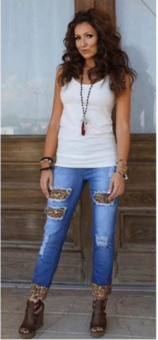 L&B Leopard boyfriend jeans Reg & plus. LB111   Boyfriend jeans ...