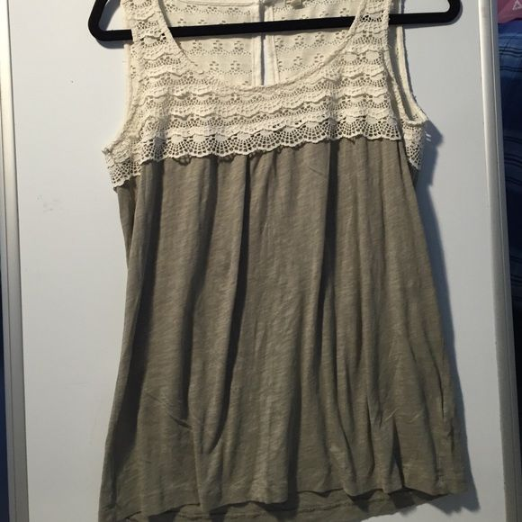J Crew Top Size medium great j crew top. Olive green with white lace on the top. Very cute and stylish. In great condition. J. Crew Tops Tank Tops
