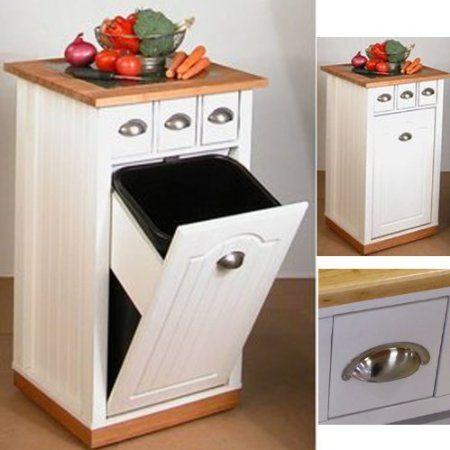 Meuble en bois 3 en 1 range cache poubelle plan de travail et 3 tiroirs 45 7 x 45 7 x 88 - Poubelle salon ...