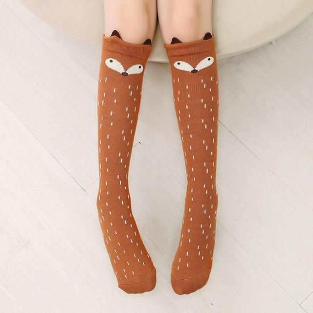 00deb9ee8 Cartoon Stockings Girl Knee Highs Mid-Calf Length Stocking Skinny Pantyhose