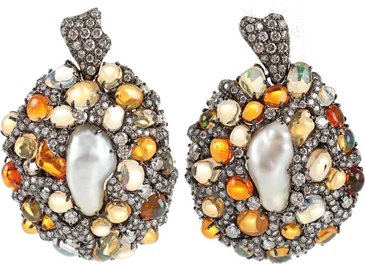 ARUNASHI Fire Opal and Pearl Earrings | thestylecure.com