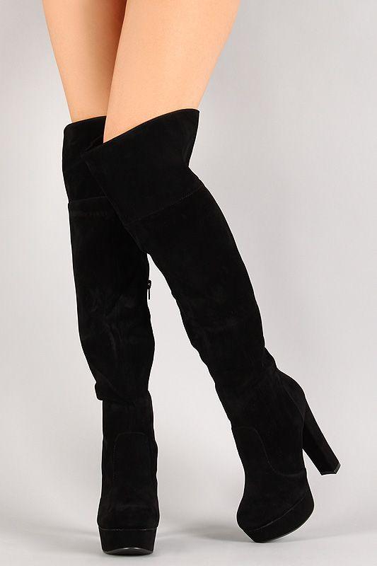 suede platform boots knee high
