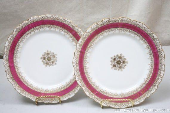 2 Antique Limoges Dinner Plates Gold Medallion Ctr Trim Hot Pink Rims 9.5 As is