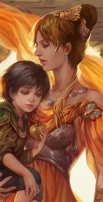 Baby Loki and Frigga. (Art by jiuge)