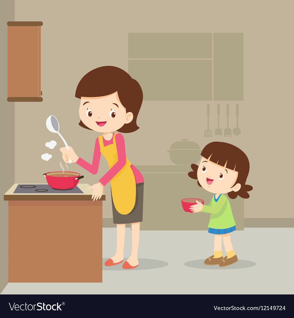 A Mother And Daughter Cookinggirl And Mother Cooking In The Kitchenhappy Family With Mom And Children Cooki Art Drawings For Kids Mom Drawing Kids Fun Learning