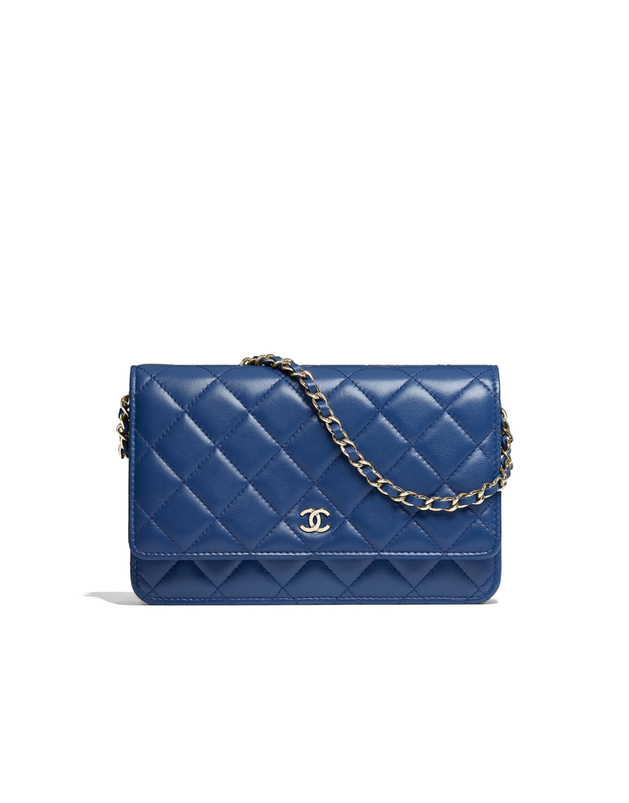 c4d74c2a722f Classic wallet on chain, lambskin & gold-tone metal-blue - CHANEL ...