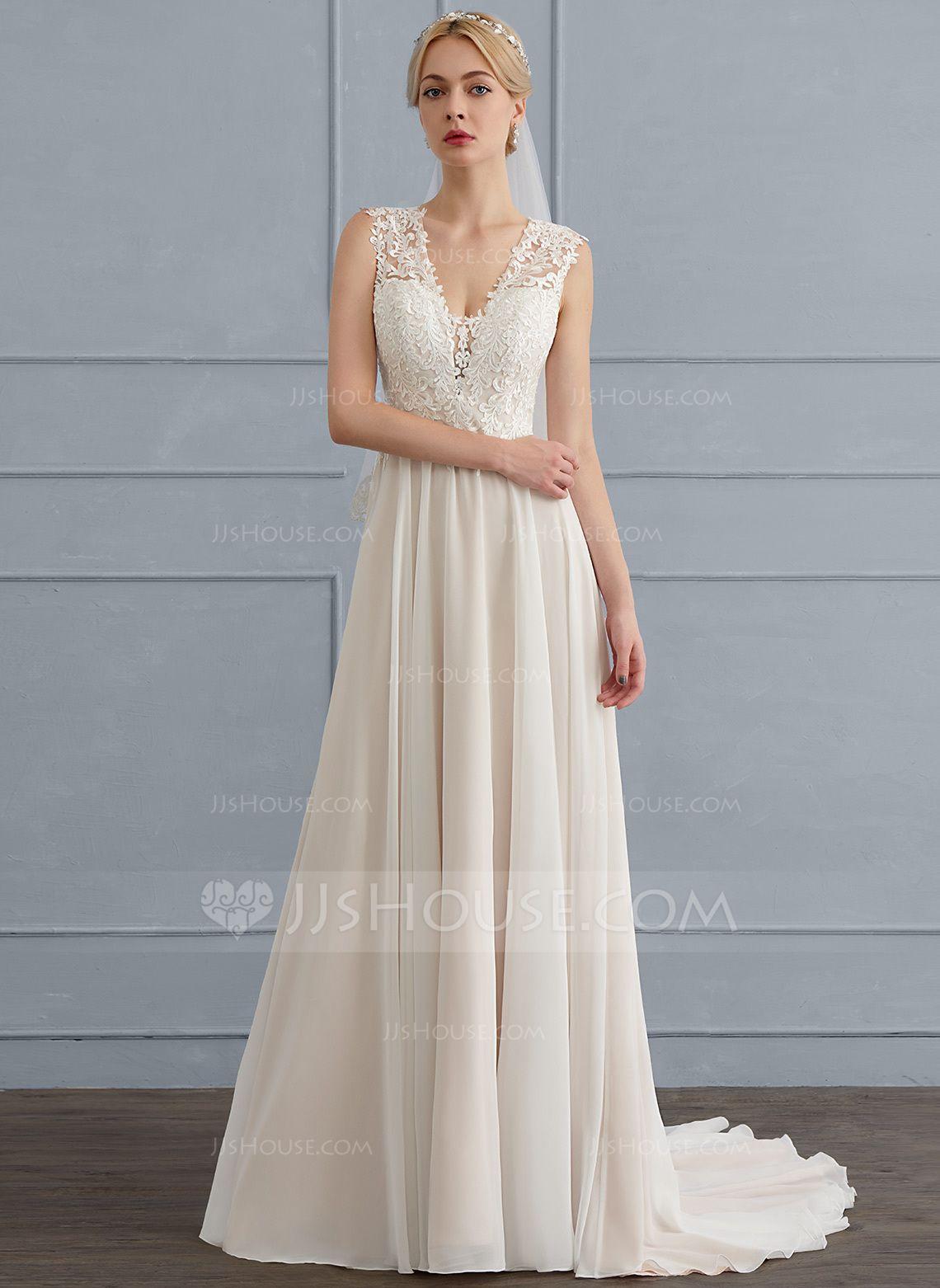 A-Line/Princess V-neck Sweep Train Chiffon Wedding Dress (002124277 ...