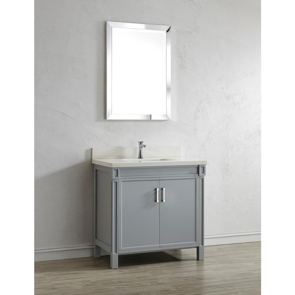 36 Inch Gray Finish Bathroom Vanity Quartz Top In White With Mirror