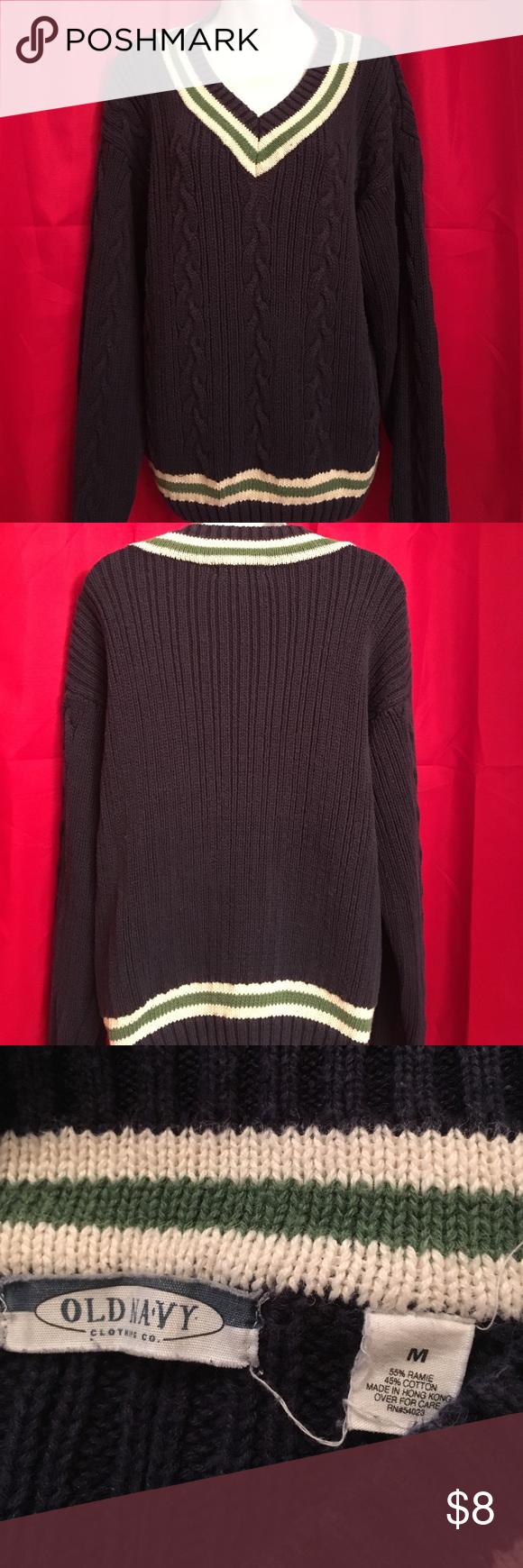 Old Navy M VNeck Boyfriend Varsity Sweater | Varsity sweater, Navy ...