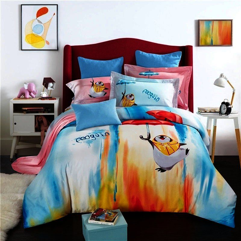 Pastel Peacock Blue Orange Red And White Animal Penguin Print Bright Colorful Paint Splatter Full Queen Size Cotton Bedd Bedding Sets Bed Cotton Bedding Sets