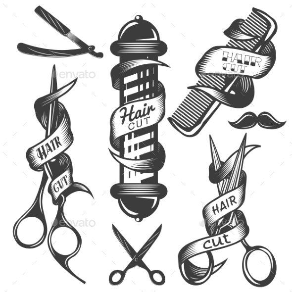 Set Of Hair Salon Vintage Labels Vintage Labels Symbols And Salons