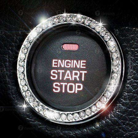 Chrystal Bling Ring Emblem Sticker- Rhinestone Start Engine Ignition Button-Car Key Knob Interior Gift-Push Button Auto Decorative Decal-Unique Silver Sparkly Vehicle Rings - Walmart.com