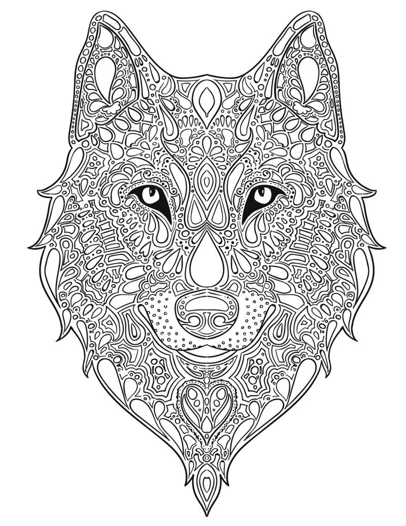 Zen Wolf Coloring Page For Adults Fox Coloring Page Animal Coloring Pages Wolf Colors