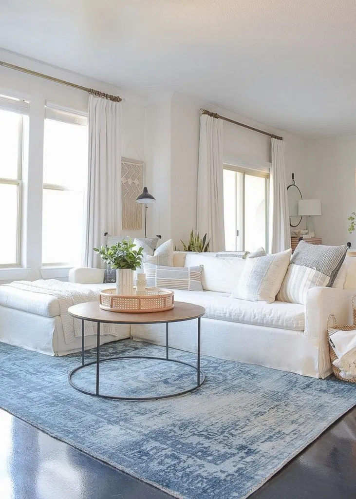 Blue Couch And White Room California Homes Home Home Living Room