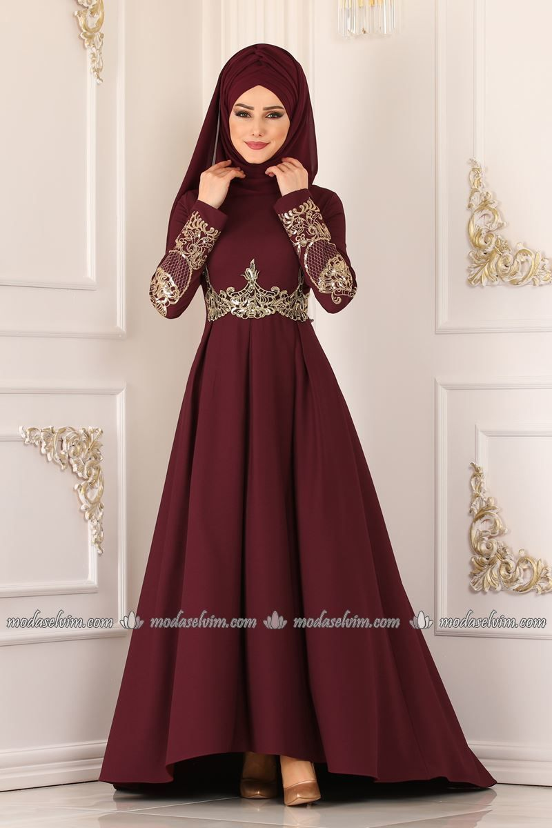 Photo of Gold Guipure Peplum Islamic Clothing Evening Dress 4921AY342 Claret Red, # 4921AY342 #Abiye #Burgundy #Gold # Guipure …