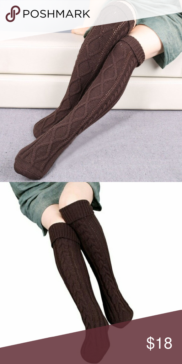 0a4211700eb54 NWT Thigh High Cable Knit Chocolate Brown Socks NWT Thigh High Cable Knit  Chocolate Brown Socks. super soft. acrylic fibers. warm and cozy. so thick  and ...