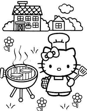 Hello Kitty Cook Cakes Coloring Page